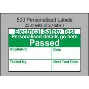Personalised Electrical Safety PAT Test Passed Labels