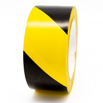 Black and Yellow Striped Floor Marking Tape - R M Labels - FMT001YB50