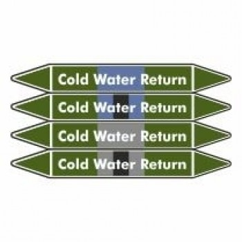 Cold Water Return Pipe Marker self adhesive vinyl code PMW12a