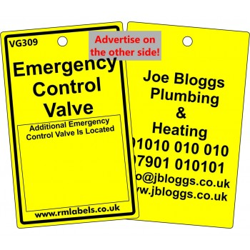 Additional Gas Emergency Control Valve Label Code Vg309