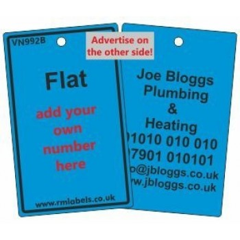 Flat Label in blue with your details on reverse Code VN992BA