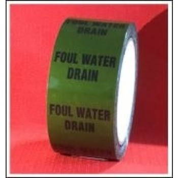 Foul Water Drain self adhesive Pipe Identification Tape Code ID254T50G