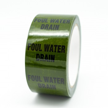 Foul Water Drain Pipe Identification Tape - Green 12-D-45 - R M Labels - ID254T50G