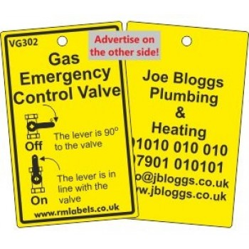 Gas Emergency Control Valve Label and your details on reverse Code VG302A
