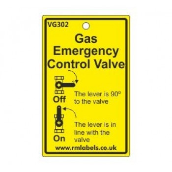 Gas Emergency Control Valve Label Code VG302