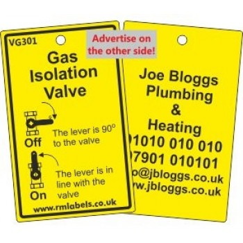 Gas Isolation Valve Label and your details on reverse Code VG301A