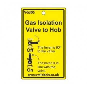 Gas Isolation Valve to Hob Label Code VG305