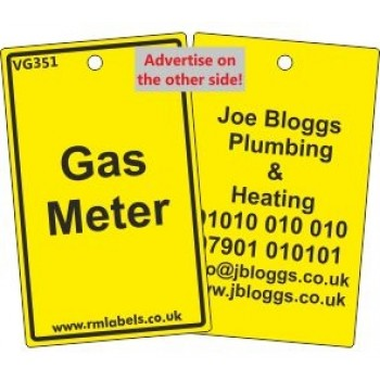 Gas Meter Label and your details on reverse Code VG351A