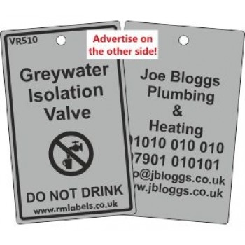 Greywater Isolation Valve Label and your details of reverse Code VR510