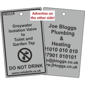 Greywater Isolation Valve to Toilet and Garden Tap Label  and your details on reverse Code VR511KA