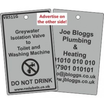 Greywater Isolation Valve to Toilet and Washing Machine Label and your details on reverse Code VR511GA