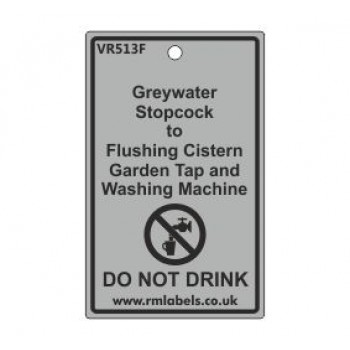 Greywater Stopcock to Flushing Cistern Garden Tap and Washing Machine Label Code VR513F