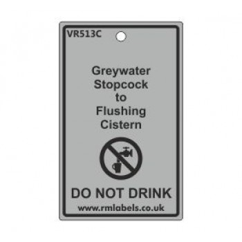 Greywater Stopcock to Flushing Cistern Label Code VR513C
