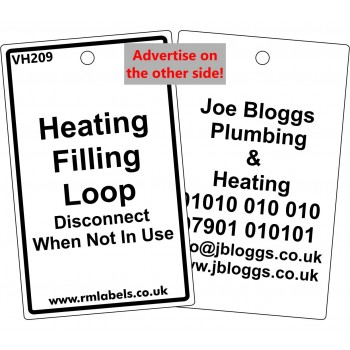 Heating Filling Loop Label and your details on reverse Code VH209A