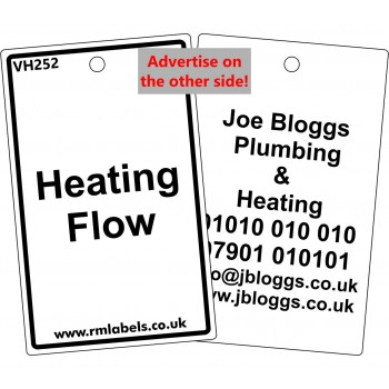 Heating Flow Label and your details on reverse Code VH252A