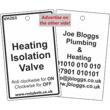 Heating Isolation Valve Label and your details on reverse Code VH203A
