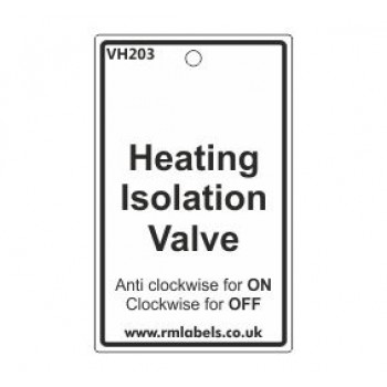 Heating Isolation Valve Label Code VH203
