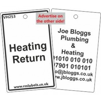 Heating Return Label and your details on reverse Code VH253A
