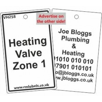 Heating Valve Zone 1 Valve Tag with your details added VH258