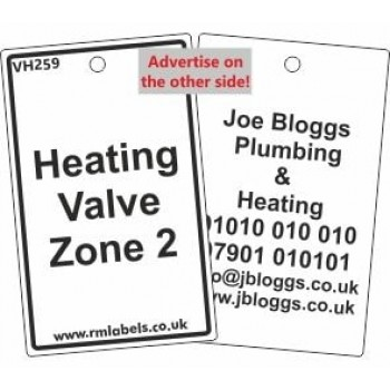 ]Heating Valve Zone 2 Valve Tag with your details on the reverse, Code VH259
