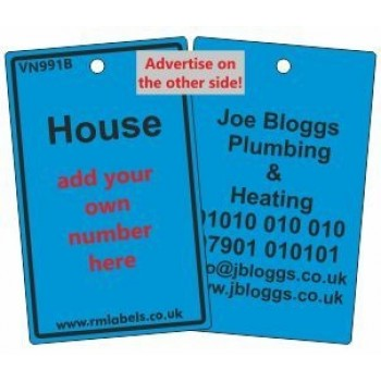 House Label in blue and your details on reverse Code VN991BA