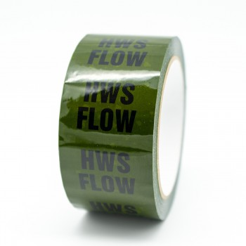 HWS Flow Pipe Identification Tape for Hot Water Service / Supply - Green 12-D-45 - R M Labels - ID142T50G