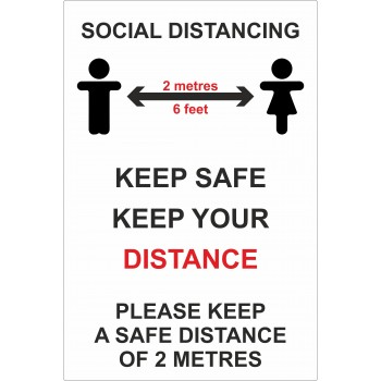 Keep A Safe Distance 2 Metres Social Distancing Sign COVID-19
