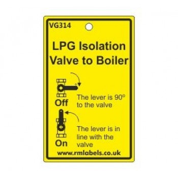 LPG Isolation Valve to Boiler Label Code VG314