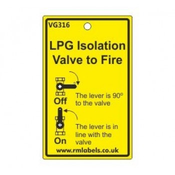 LPG Isolation Valve to Fire Label Code VG316
