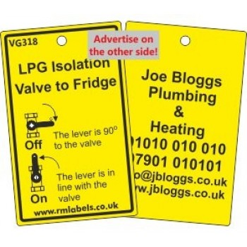 LPG Isolation Valve to Fridge Label and your details on reverse Code VG318A