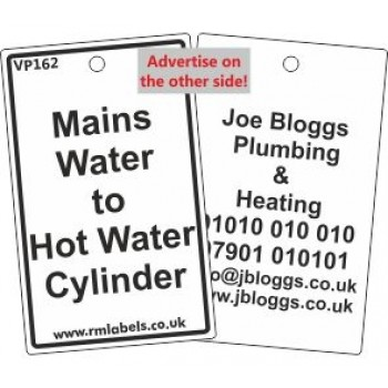 Mains Water to Hot Water Cylinder Label Code VP162 - Other Plumbing ...
