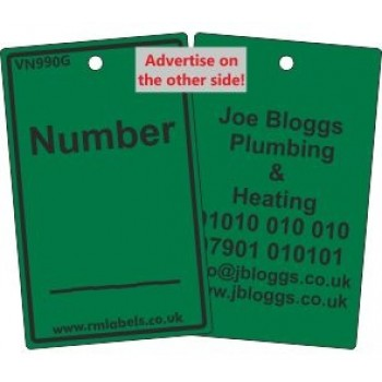 Number Label in green with your details on the reverse Code VN990GA
