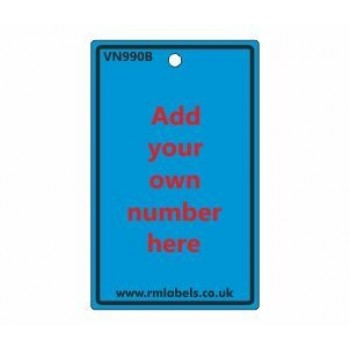 Number Label in blue Code VN990B