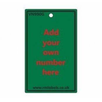 Number Label in green code VN990G