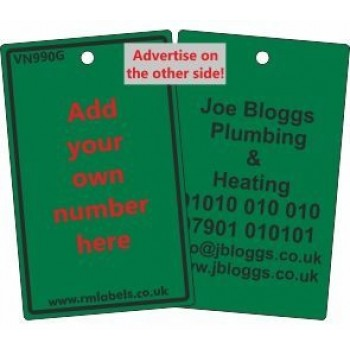 Number Label in green with your details on reverse code VN990GA