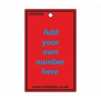 Number Label in red Code VN990R