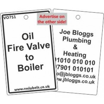 Oil Fire Valve to Boiler Label and your details on reverse Code VO751A