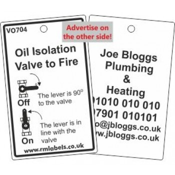 Oil Isolation Valve to Fire Label and your details on reverse Code VO704A