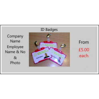 Personalised ID Badges with holder and clip or lanyard
