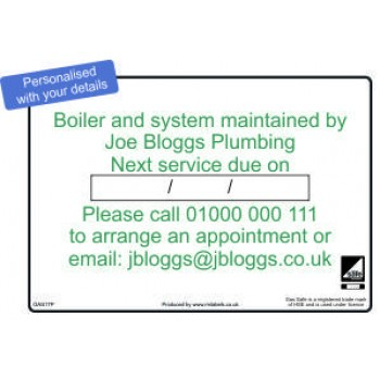 Personalised Boiler and System Maintained By Service Label (Pack of 80) Code GAS17P