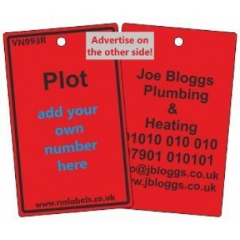 Plot Label in red and your details on reverse Code VN993RA