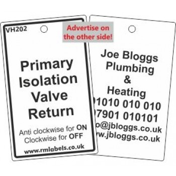 Primary Isolation Valve Return Label and your details on reverse Code VH202A