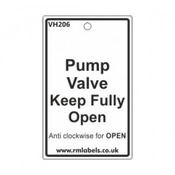 Pump Valve Keep Fully Open Label Code VH206