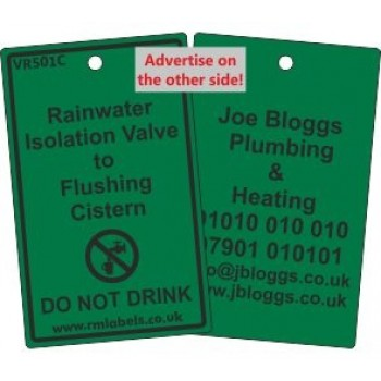 Rainwater Isolation Valve to Flushing Cistern Label and your details on reverse Code VR501CA