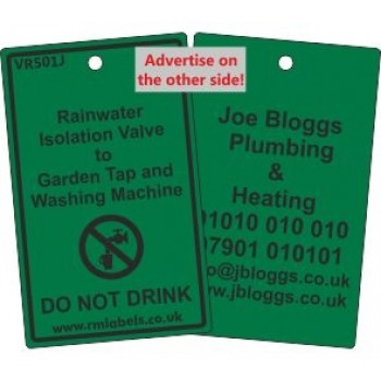 Rainwater Isolation Valve to Garden Tap and Washing Machine Label and your details on reverse Code VR501JA