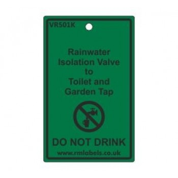 Rainwater Isolation Valve to Toilet and Garden Tap Label Code VR501K