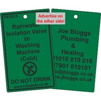 Rainwater Isolation Valve to Washing Machine Label and your details on reverse Code VR501AA