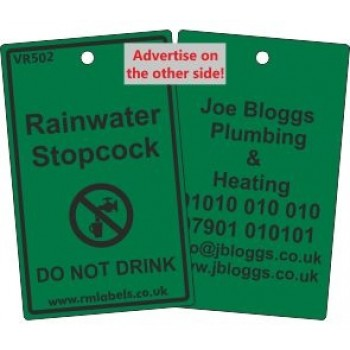 Rainwater Stopcock Label and your details on reverse Code VR502A