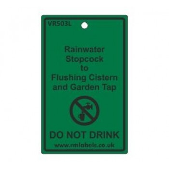 Rainwater Stopcock to Flushing Cistern and Garden Tap Label Code VR503L