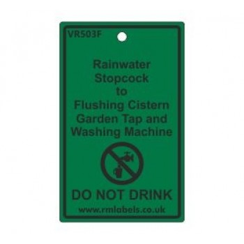 Rainwater Stopcock to Flushing Cistern Garden Tap and Washing Machine Label Code VR503F
